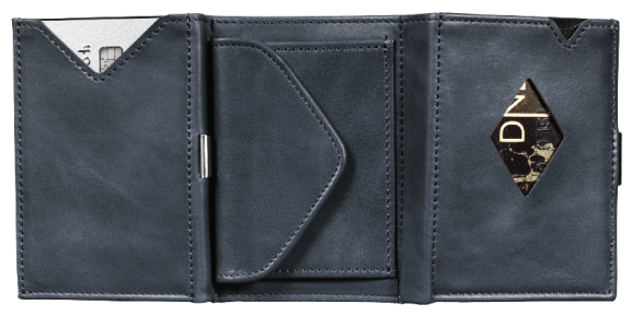 blue leather coin wallet