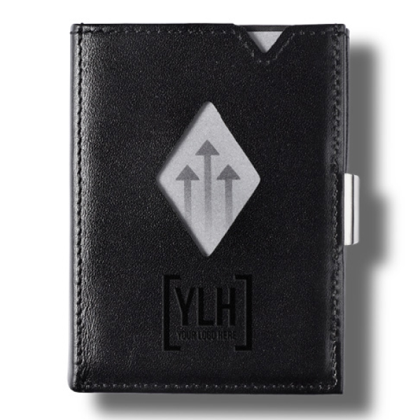 Black leather wallet customized with company logo