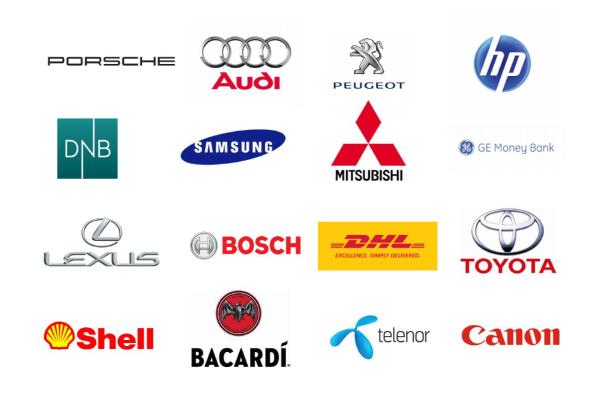 Various company logos of exentri customers