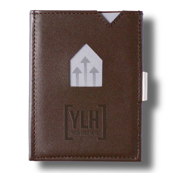 Brown leather wallet with embossed corporate message