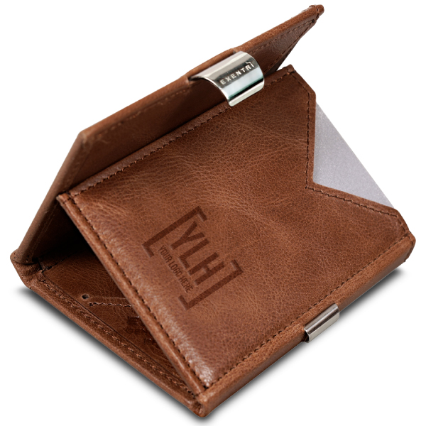 Brown wallet with embossed business logo on interior pocket