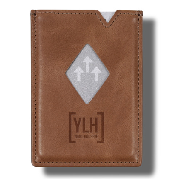 Sand brown leather cardholder customized with business brand